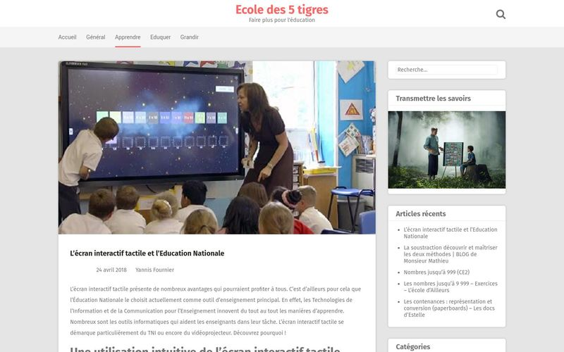 L'écran interactif tactile et l'Education Nationale
