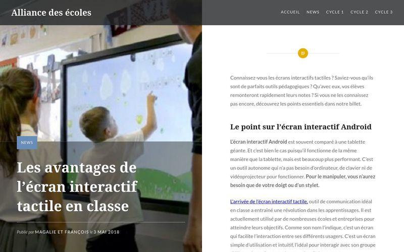 Les avantages de l'écran interactif tactile en classe